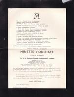 SAINT-GEORGES-SUR-MEUSE UCCLE Marc MINETTE D'OULHAYE Comte Romain Veuf D'ASPREMONT LYNDEN 84 Ans 1959 - Décès