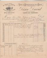 Facture Illustrée 2/12/1893 DESIRE DAVID Au Grand St Vernier Vins Eaux De Vie Marc Mousseux LONS LE SAUNIER Jura - 1800 – 1899