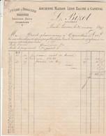 Facture 26/3/1897 L BIZOT Ex Racine & Ganeval épicerie Droguerie Conserves LONS LE SAUNIER Jura Verso 1/2 Facture Collée - 1800 – 1899