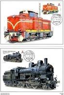 Tchequie 2017 Jeu De 2 Cartes Maximum Locomotives à Vapeur , à Crémaillère / Trains Maximum Cards - FDC