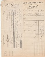 Facture 2/4/1897 BIZOT Ex Racine & Ganeval épicerie Droguerie Conserves LONS LE SAUNIER Jura Recto Lettre Change Collée - 1800 – 1899