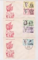 DDR- 24 9 1963  3 FDC ERHALTUNG DER NATIONALEN MAHN-UND GEDENKSTATTEN : SPORTLER - FDC: Enveloppes