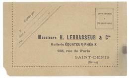 Petite Carte / Lettre - Huilerie Equateur - Phénix, Ms Lebrasseur & Cie - Publicités