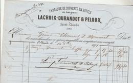 Facture 14/10/1871 LACROIX DURANDOT & PELOUX Fabrique De Couverts En Buffle SAINT CLAUDE Jura - 1800 – 1899