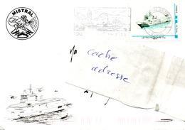 BPC MISTRAL Timbre Personnalisé Sur Enveloppe Illustrée Du Bord + Cachet Du Bord Au Dos Obl Toulon Armées 10/07/08 - Poste Navale