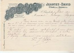 Facture Lettre 8/3/1910 JEANTET DAVID Pipes SAINT CLAUDE Jura Et Oyonnax Ain - France