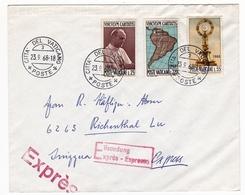 Lettre Citta Del Vaticano 1968 Vatican Suise Exprès Espresso Vinculum Caritatis - Vatican