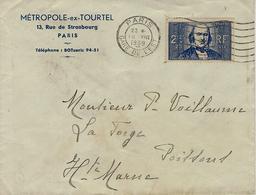 1939- Enveloppe à En-tête De Paris Affr. N° 439 Seul - Postmark Collection (Covers)