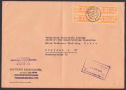 DDR ZKD 16L(4) BERLIN O17, ZKD-Nr. 135, 4.6.58, Doppelbrief A5, Deutsche Bauakademie - DDR