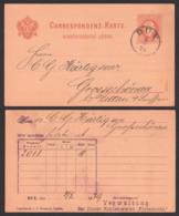 """DUX  Duchcov Correspondens-Karte  (Böhm) 1879 Nach Grossschönau, Duxer Kohlenwerke """"Fortschritt"""" - Czechoslovakia"""