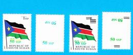 SOUTH SUDAN Surcharge Overprint Printing Trials Of The 50 SSP OP On 1 SSP Flag Stamp Südsudan Soudan Du Sud OP110 111 - Sud-Soudan