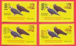 SOUTH SUDAN Stamps Unissued Proof Set, 4 Values, Overprint On 2 SSP Birds Bearded Vulture Südsudan Soudan Du Sud OP202/3 - Zuid-Soedan