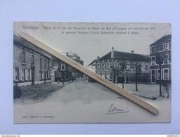 GENAPPE»HAUT DE LA RUE DE BRUXELLES ET HÔTEL DU ROI D'ESPAGNE »Animée(1905)Édit E.P. DOHET-BAUDE Nº 4470. - Genappe