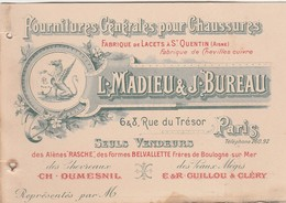 Carte Commerciale MADIEU BUREAU / Fournitures Chaussures / Lacets St-Quentin 02 / Paris - Cartes
