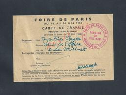 ANCIENNE CARTE D ESPOSANT FOIRE DE PARIS 1958 AVEC TAMPON PAVILLON DU VIET NAM ( AMBASSADE ) DE Mr ZADIS LE VÉSINET : - Cartes