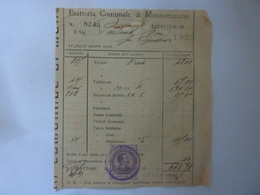 """Ricevuta """"ESATTORIA COMUNALE DI MONSUMMANO"""" 1925 Con Marca Da Bollo - Italy"""