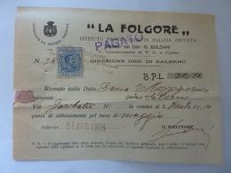 """Ricevuta """"LA FOLGORE Istituto Provinciale Di Polizia Privata SALERNO"""" 1926 - Italia"""