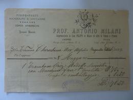 "Ricevuta ""PROF. ANTONIO MILANI LIVORNO - PISA PIANOFORTI. MANDOLINI, CHITARRE,ETC."" 1898 - Italia"