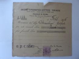 """Ricevuta """"UNIONE TIPOGRAFICO - EDITRICE TORINESE FILIALE DI ROMA"""" Febbraio 1896 - Italia"""
