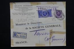 ROYAUME UNI - Enveloppe Commerciale En Recommandé De Londres Pour La France En 1935  , Vignette Au Verso - L 20892 - Marcofilie