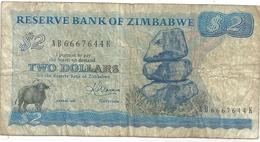 RESERVE BANK OF ZIMBABWE . $ 2 DOLLARS .  1983 . N° AB 6667644 K   .  2 SCANES - Zimbabwe