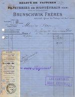 VP14.220 - Facture - Papeteries De Montévrain - BRUNSCHWIK Frères à PARIS Quai De Valmy - Imprimerie & Papeterie
