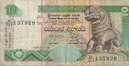 CENTRAL BANK OF SRI LANKA  . 10 RUPPEES . 1995-11-15  .  N° M/223 137928   .  2 SCANES - Sri Lanka
