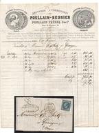 COURROIES POUR TEXTILE - FILATURES  / 1867 FACTURE ILLUSTREE POULLAIN BEURIER - PARIS (ref 1116b) - 1800 – 1899