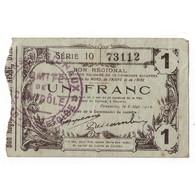 59 - 02 - 60 NORD AISNE OISE - 1 FRANC 08.05.1916 - TTB - - 1871-1952 Anciens Francs Circulés Au XXème