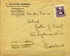 ESPAÑA. GUERRA CIVIL. PROVINCIA DE CASTELLÓN. ALCALÁ DE CHIVERT BARCELONA. MATASELLOS LINEAL AZUL. A27.1 NEGRA - Emisiones Nacionalistas