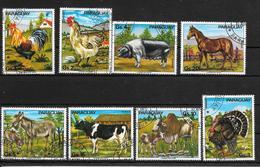 PARAGUAY ANIMALES DOMESTICOS GALLO GALLINA CERDO CABALLO PAVO BURRO VACA YAK SERIE COMPLETA  YVERT TELLIER NRS. 1499 - 1 - Paraguay