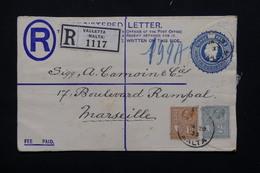 MALTE - Entier Postal + Complément En Recommandé De Valletta Pour Marseille En 1933 - L 20903 - Malte