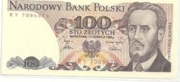 BANK POLSKI . 100 ZLOTYCH . 1-6-1986  . N° RY 7086676  .  2 SCANES - Pologne