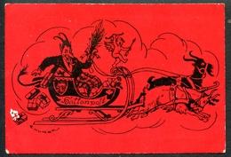 Krampus, Höllenpost, Um 1930, Pinx E. Kutzer, Schlitten Mit Ziegengespann, Amor, An Die Walzerkönigin - Feiern & Feste