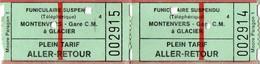 2 Tickets Anciens  Funiculaire Suspendu ( Téléphérique)  MONTENVERS  Gare C.M  à GLACIER - Tickets - Vouchers