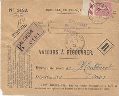 LETTRE RECOMMANDEE - VALEURS A RECOUVRER -  1925 AVEC TIMBRE A 65 CT TYPE SEMEUSE - 1921-1960: Modern Period