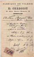 VP14.223 - Facture - Fabrique De Tolerie E. CHABOISY à VERSAILLES - France