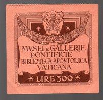 Vatican (Italie) Lot De 2 Tickets GALLERIE PONTIFICIE  (PPP16772) - Tickets - Vouchers