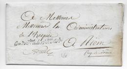 1813 -  LETTRE EN FRANCHISE Du COMMISSAIRE ORDONNATEUR De La 19° DIVISION MILITAIRE => HOSPICE De RIOM (PUY DE DOME) - Marcophilie (Lettres)