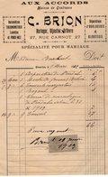 VP14.226 - Facture - ¨ AUX ACCORDS ¨ C. BRION Horloger, Bijoutier, Orfèvre à VERSAILLES - France
