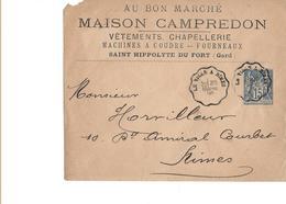 ST Hippolyte Du Fort Gard  Avec Cachet  Convoyeur Le Vigan Nimes - Poststempel (Briefe)