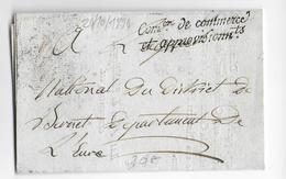 AN 3 (1794) -  LETTRE EN FRANCHISE De La COMMISSION Du COMMERCE Et APPROVISIONNEMENTS => BERNET (EURE) - Marcophilie (Lettres)