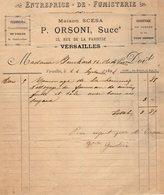 VP14.228 - Facture - Entreprise De Fumisterie P. ORSINI à VERSAILLES - 1800 – 1899