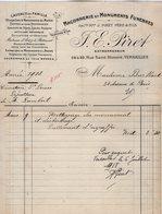 VP14.230 - Facture - Maçonnerie Et Monuments Funèbres J. E. PIRET Entrepreneur à VERSAILLES - France