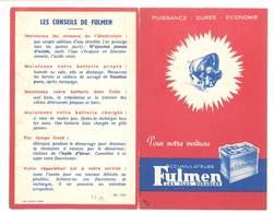 Dépliant Pub Accumulateurs Fulmen ( Batterie ), Pour Votre Voiture - Code De La Route à L'intérieur - Voitures