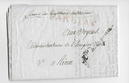 AN 9 (1800) - LETTRE FRANCHISE De L'ADMINISTRATION Des HOPITAUX MILITAIRES Avec MARQUE Du MINISTRE De La GUERRE => RIOM - Marcophilie (Lettres)