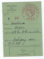 VELOCIPEDES - Contre-marque Fiscale De 1956 - Fiscaux