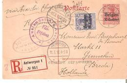 "EP.Occ. 10 Centimes + TP. 25c. RECOMMANDE ANTWERPEN Du 11/3/1916 V/Ginneken ""Censuur Gepasserd"" - Guerre 14-18"