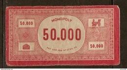LOT DE 7 BILLETS DE 50000 FRANCS DU JEU DE SOCIÉTÉ MONOPOLY VERSION FRANCE REF. PATENT APPLIED FOR N° 3796/36 - 3 Scans - Jeux De Société