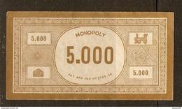 LOT DE 26 BILLETS DE 5000 FRANCS DU JEU DE SOCIÉTÉ MONOPOLY VERSION FRANCE REF. PATENT APPLIED FOR N° 3796/36 - 3 Scans - Jeux De Société
